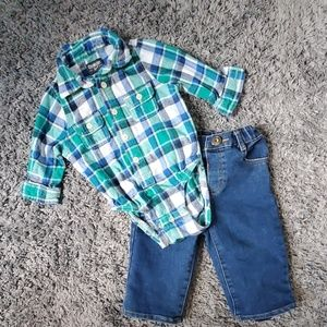 12 Month button down onesie and lined jeans